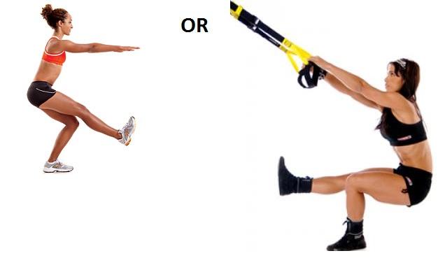 one legged trx squat jumps