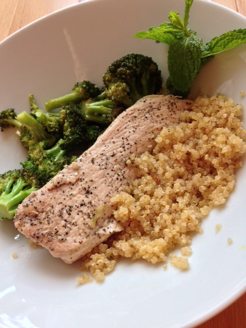 Lemon-Mint Chicken with Quinoa & Sauteed Broccoli + Fresh Salad & Herb Dressing