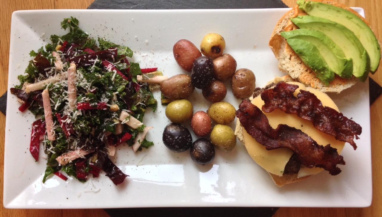 Hickory-Smoked Mocha Sea Salt Burgers with Kale & Chard Salad